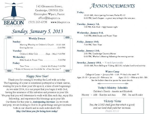 2014-01-05, Weekly Bulletin