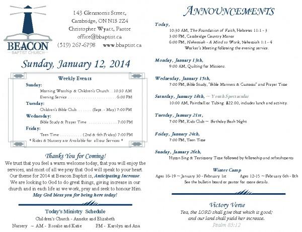2014-01-12, Weekly Bulletin