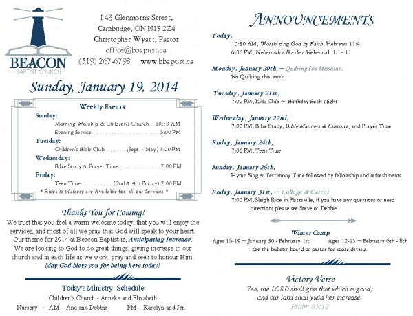 2014-01-19, Weekly Bulletin
