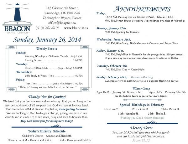 2014-01-26, Weekly Bulletin