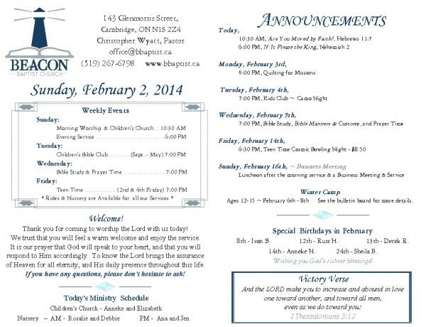 2014-02-02, Weekly Bulletin