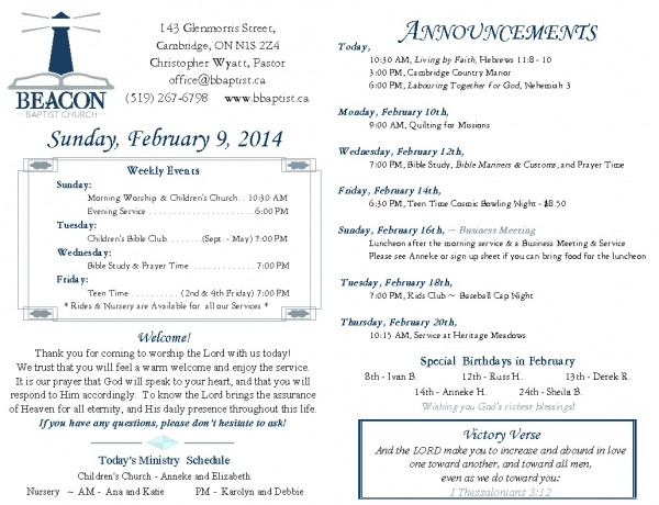 2014-02-09, Weekly Bulletin