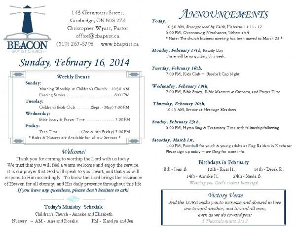 2014-02-16, Weekly Bulletin