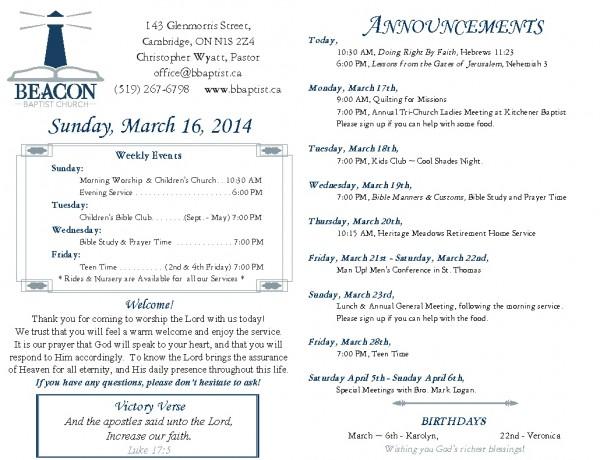 2014-03-16, Weekly Bulletin