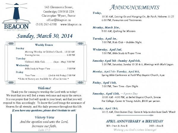 2014-03-30, Weekly Bulletin
