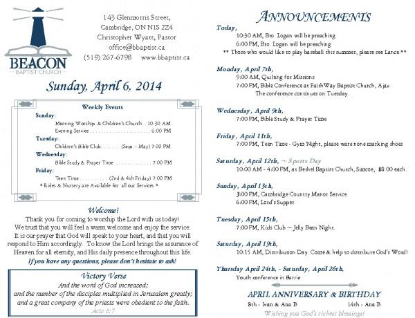 2014-04-06, Weekly Bulletin