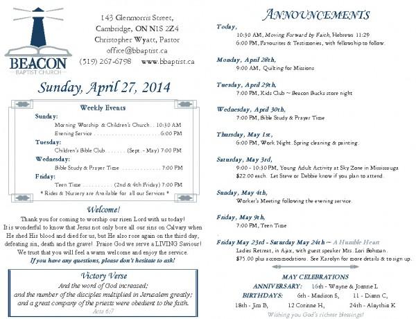 2014-04-27, Weekly Bulletin