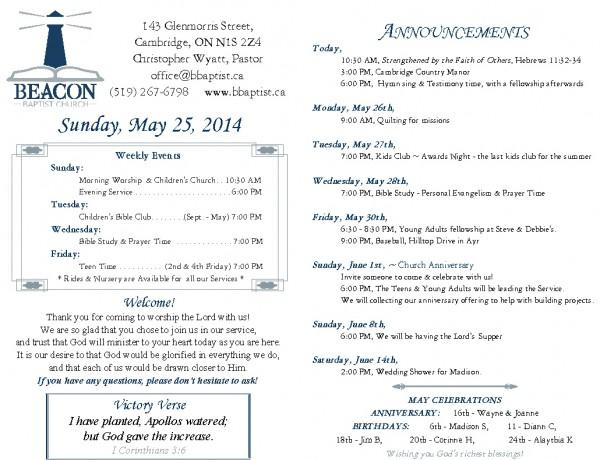 2014-05-25, Weekly Bulletin