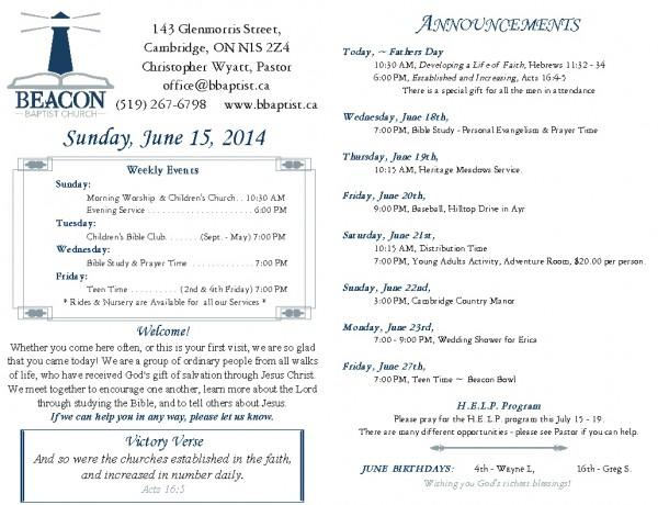 2014-06-15, Weekly Bulletin